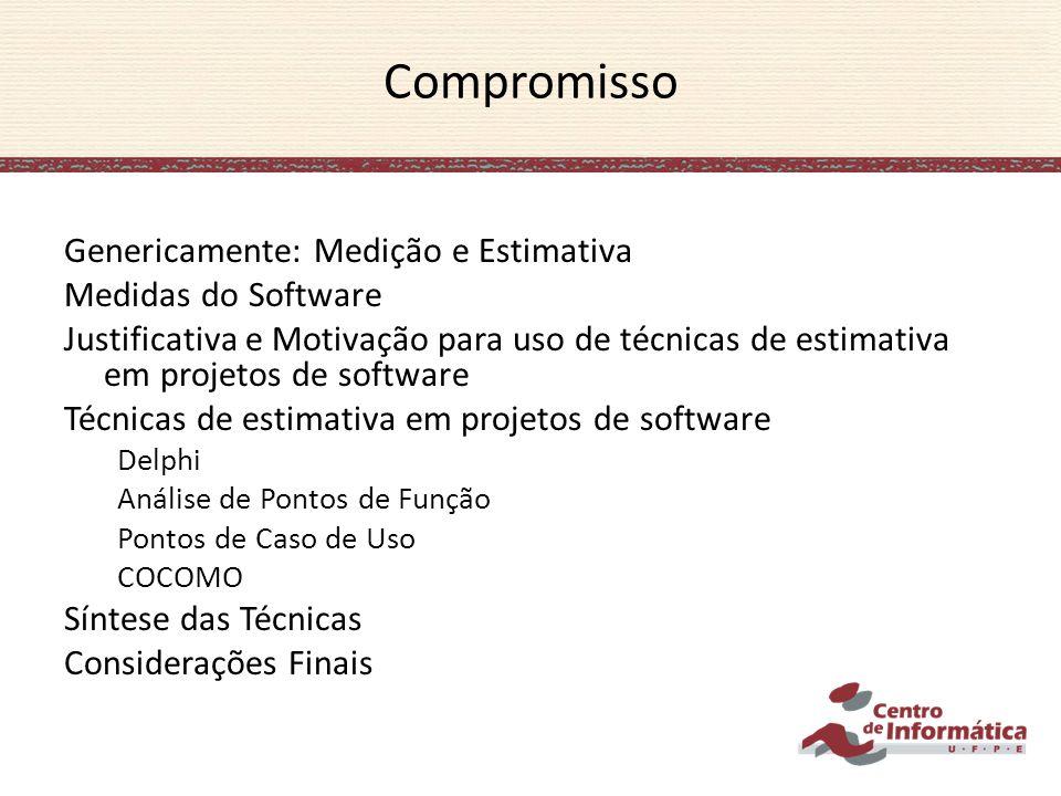 Compromisso Genericamente: Medição e Estimativa Medidas do Software