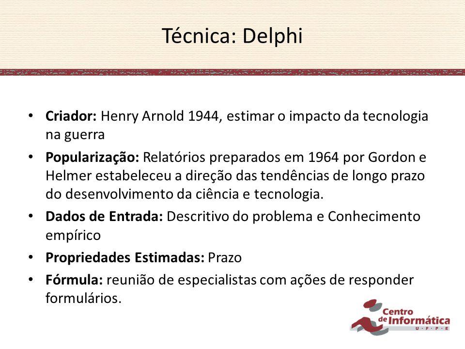Técnica: Delphi Criador: Henry Arnold 1944, estimar o impacto da tecnologia na guerra.