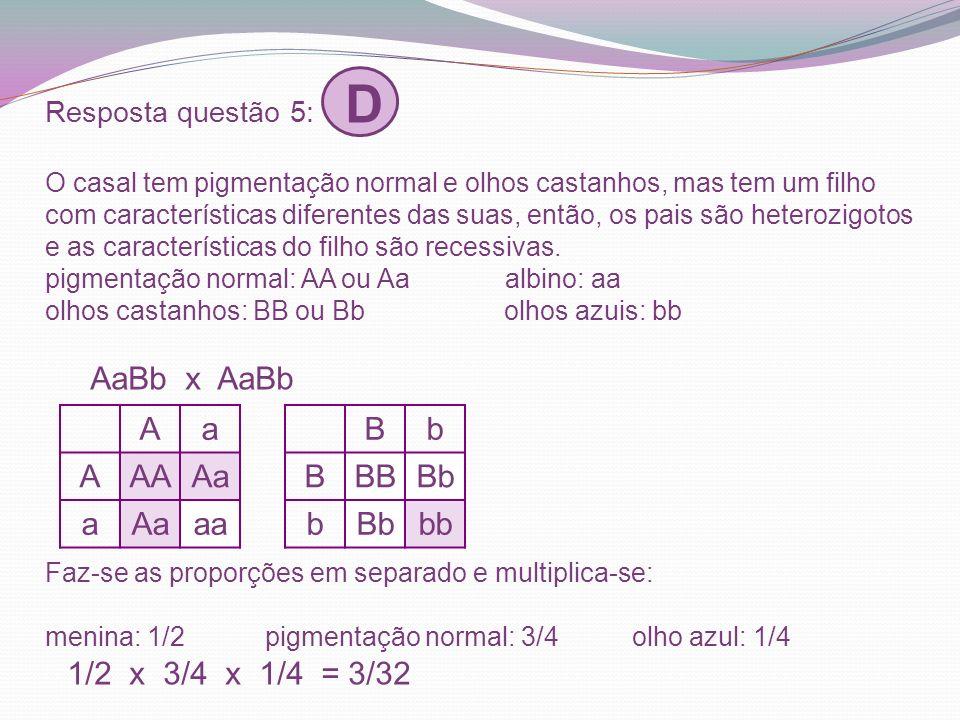 Resposta questão 5: D O casal tem pigmentação normal e olhos castanhos, mas tem um filho com características diferentes das suas, então, os pais são heterozigotos e as características do filho são recessivas. pigmentação normal: AA ou Aa albino: aa olhos castanhos: BB ou Bb olhos azuis: bb AaBb x AaBb Faz-se as proporções em separado e multiplica-se: menina: 1/2 pigmentação normal: 3/4 olho azul: 1/4 1/2 x 3/4 x 1/4 = 3/32