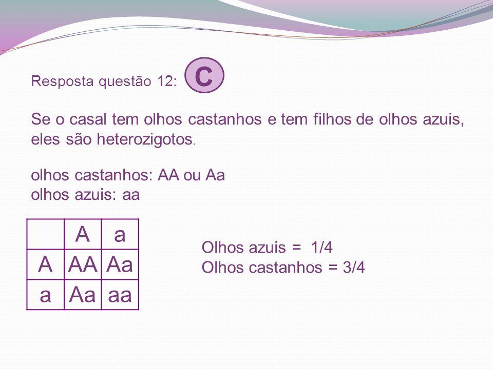 A a AA Aa aa Olhos azuis = 1/4 Olhos castanhos = 3/4
