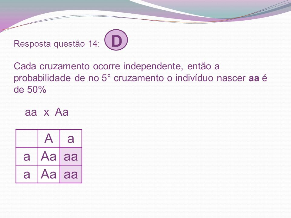 Resposta questão 14: D Cada cruzamento ocorre independente, então a probabilidade de no 5° cruzamento o indivíduo nascer aa é de 50% aa x Aa