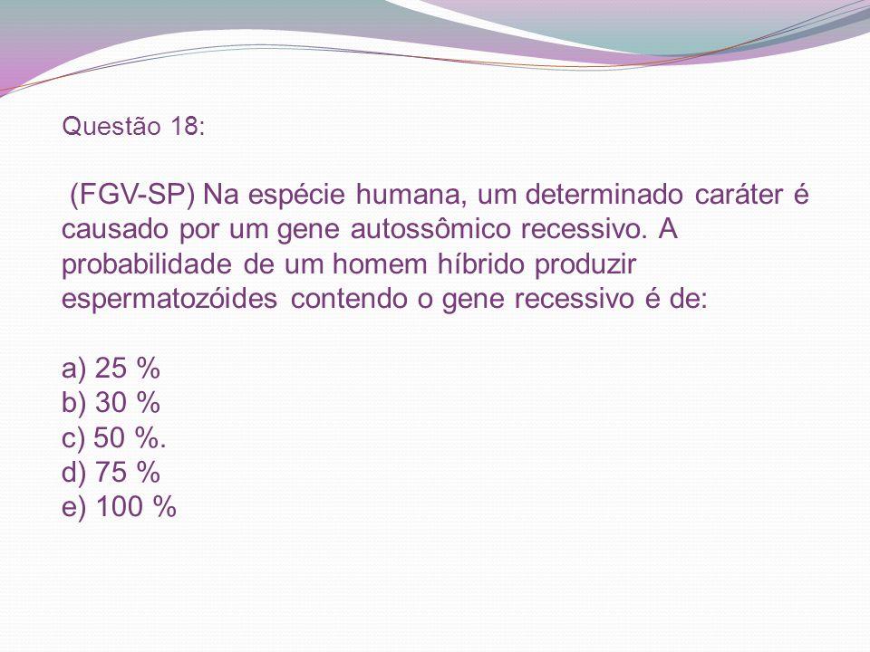 Questão 18: (FGV-SP) Na espécie humana, um determinado caráter é causado por um gene autossômico recessivo.