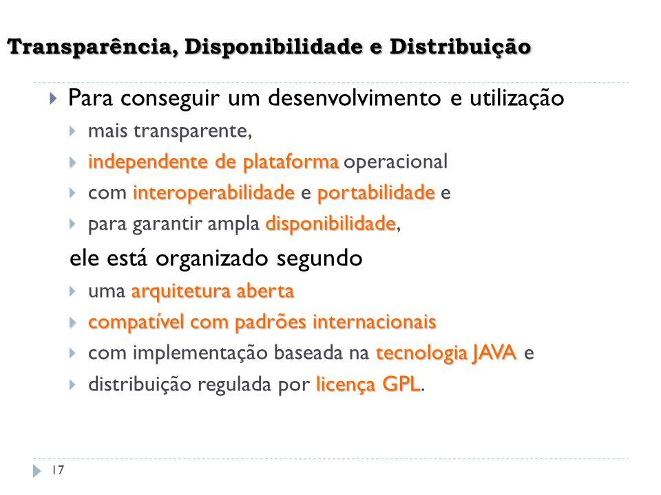 Transparência, Disponibilidade e Distribuição