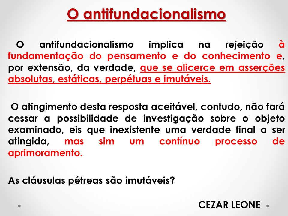 O antifundacionalismo