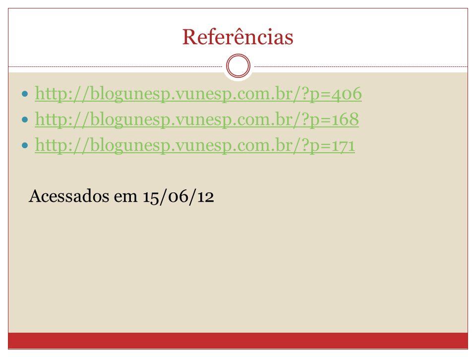 Referências http://blogunesp.vunesp.com.br/ p=406