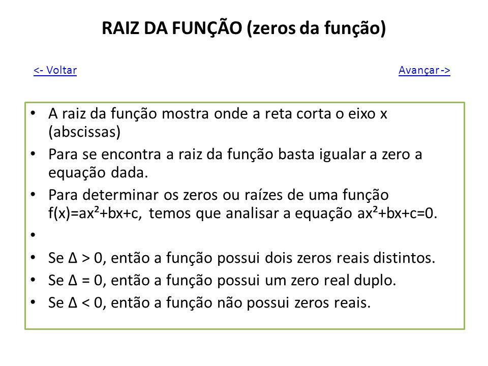 RAIZ DA FUNÇÃO (zeros da função)