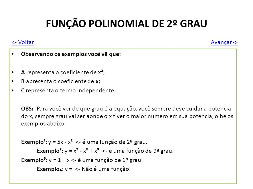 FUNÇÃO POLINOMIAL DE 2º GRAU