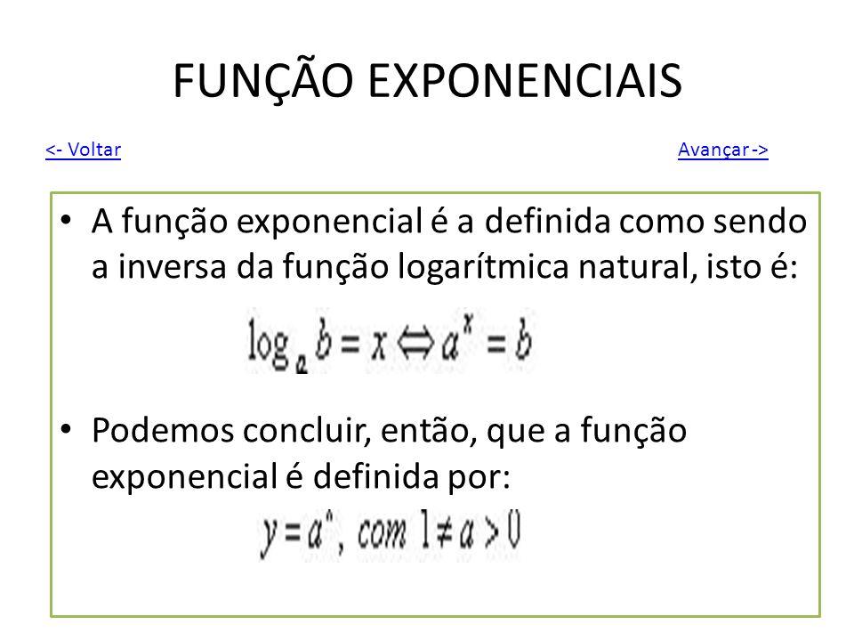 FUNÇÃO EXPONENCIAIS <- Voltar. Avançar -> A função exponencial é a definida como sendo a inversa da função logarítmica natural, isto é: