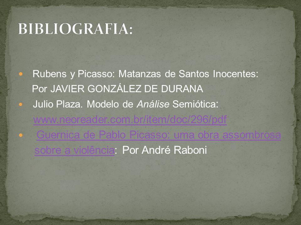 BIBLIOGRAFIA: Rubens y Picasso: Matanzas de Santos Inocentes: