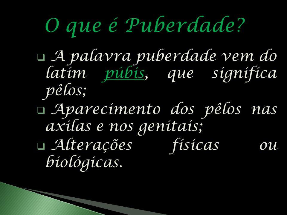 O que é Puberdade A palavra puberdade vem do latim púbis, que significa pêlos; Aparecimento dos pêlos nas axilas e nos genitais;