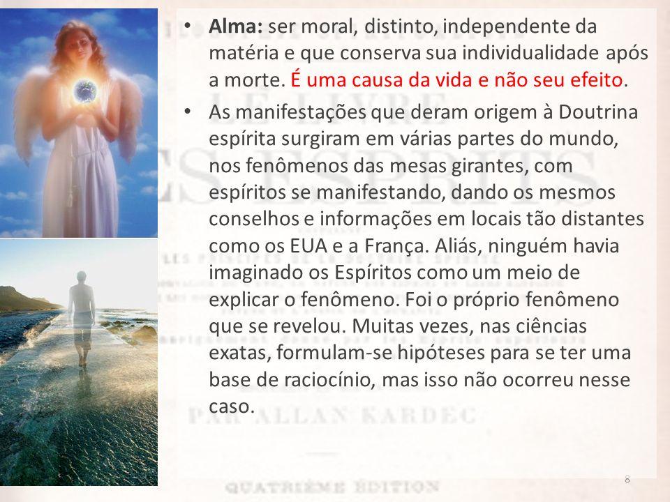 Alma: ser moral, distinto, independente da matéria e que conserva sua individualidade após a morte. É uma causa da vida e não seu efeito.