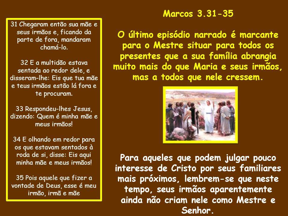 33 Respondeu-lhes Jesus, dizendo: Quem é minha mãe e meus irmãos!