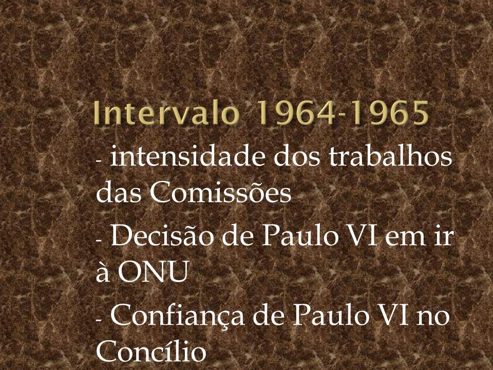 Intervalo 1964-1965 intensidade dos trabalhos das Comissões