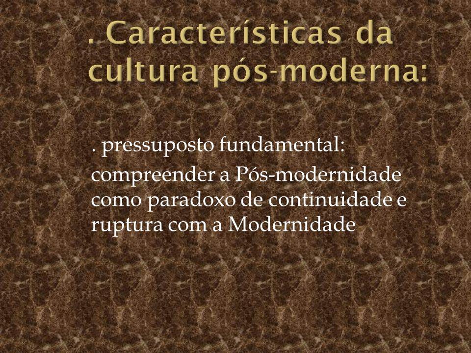 . Características da cultura pós-moderna: