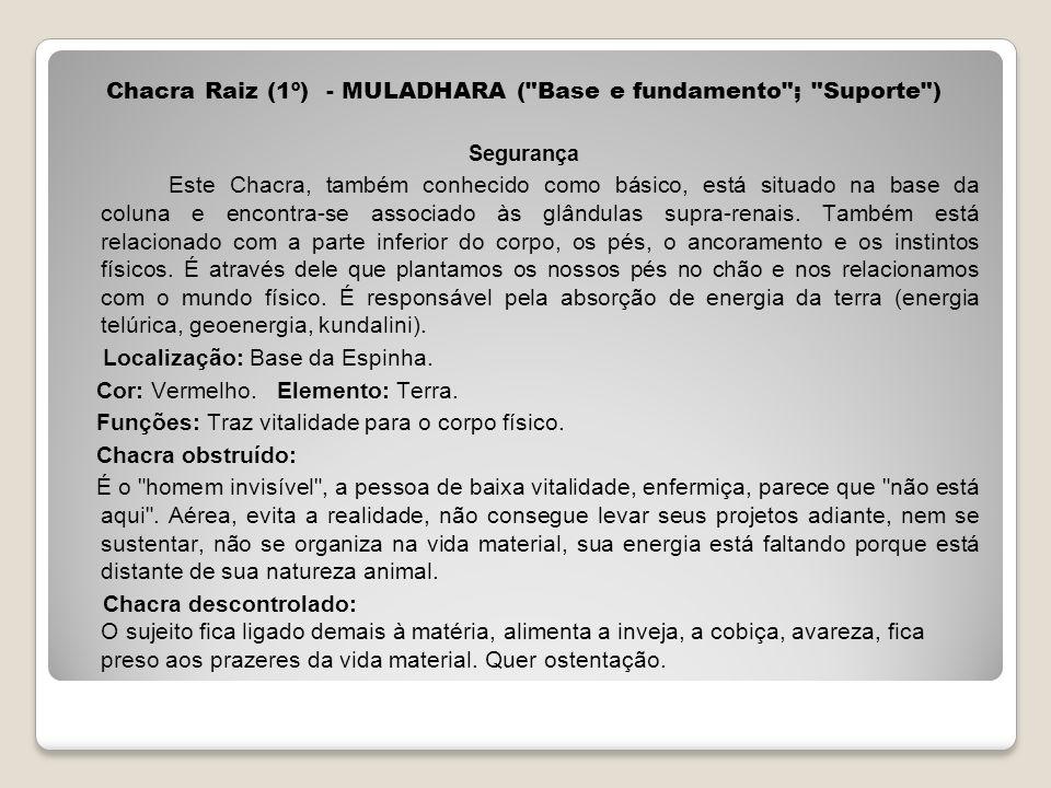 Chacra Raiz (1º) - MULADHARA ( Base e fundamento ; Suporte )