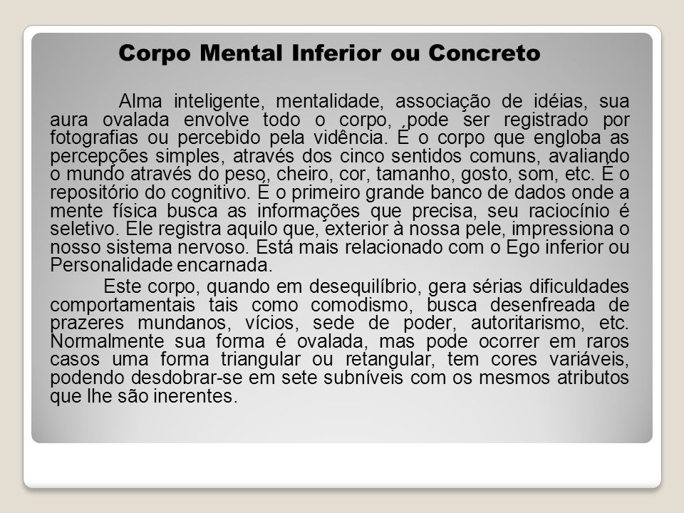 Corpo Mental Inferior ou Concreto