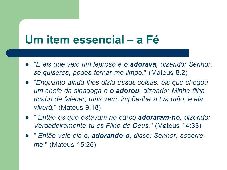 Um item essencial – a Fé E eis que veio um leproso e o adorava, dizendo: Senhor, se quiseres, podes tornar-me limpo. (Mateus 8.2)