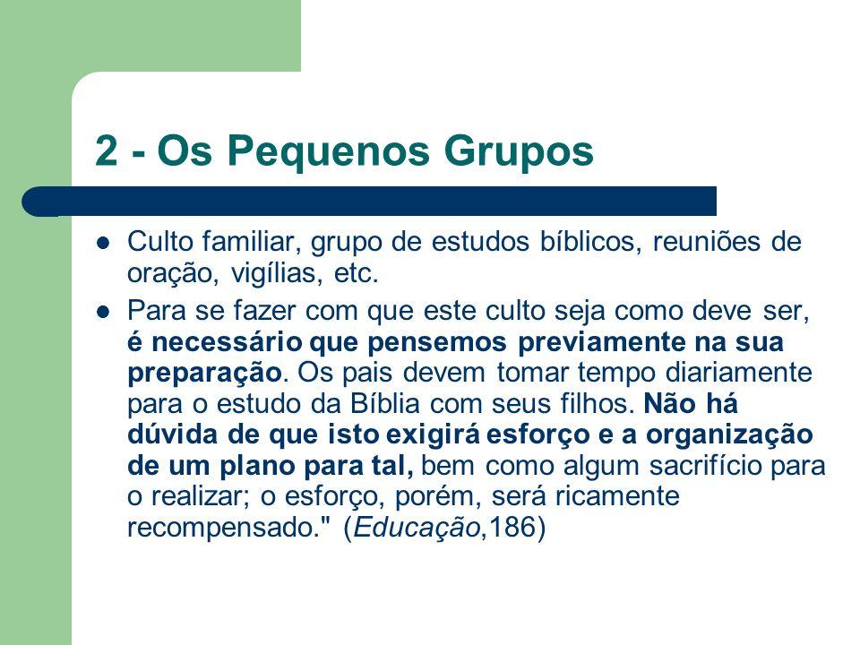 2 - Os Pequenos Grupos Culto familiar, grupo de estudos bíblicos, reuniões de oração, vigílias, etc.