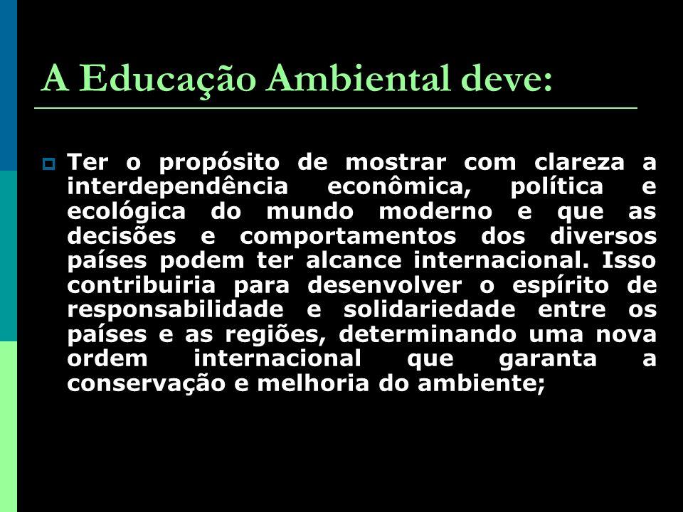 A Educação Ambiental deve: