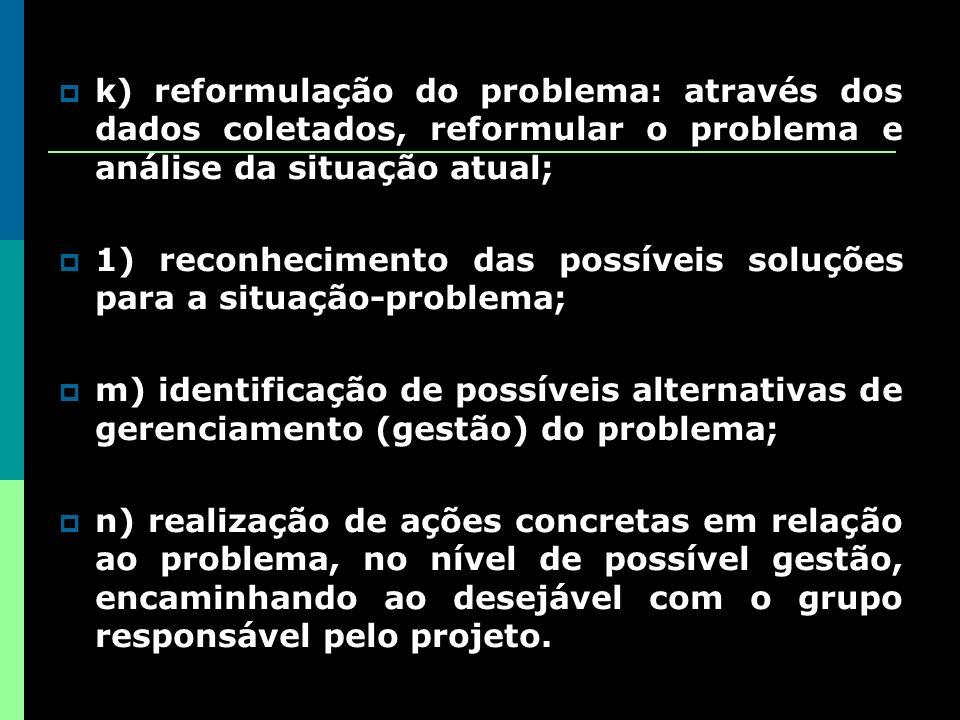 k) reformulação do problema: através dos dados coletados, reformular o problema e análise da situação atual;