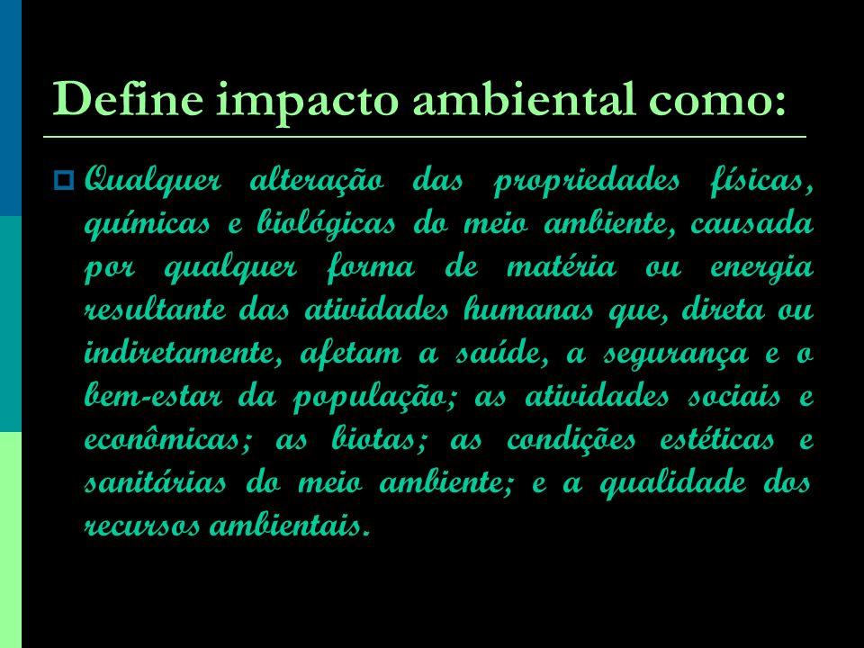 Define impacto ambiental como:
