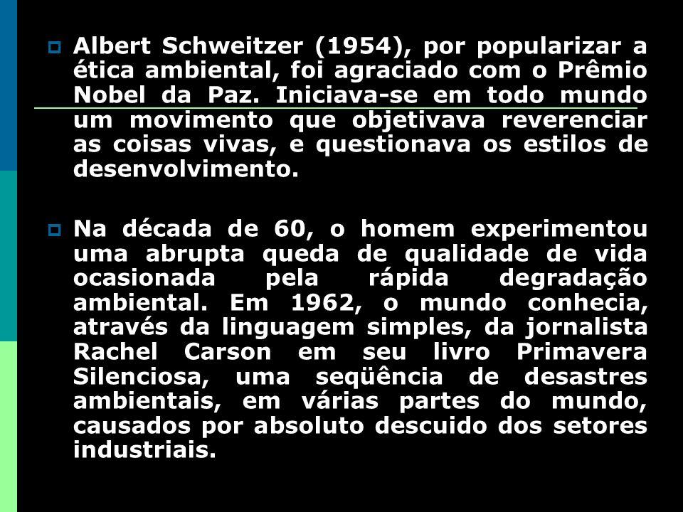 Albert Schweitzer (1954), por popularizar a ética ambiental, foi agraciado com o Prêmio Nobel da Paz. Iniciava-se em todo mundo um movimento que objetivava reverenciar as coisas vivas, e questionava os estilos de desenvolvimento.