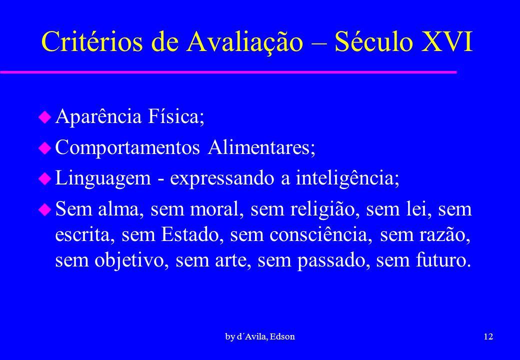 Critérios de Avaliação – Século XVI