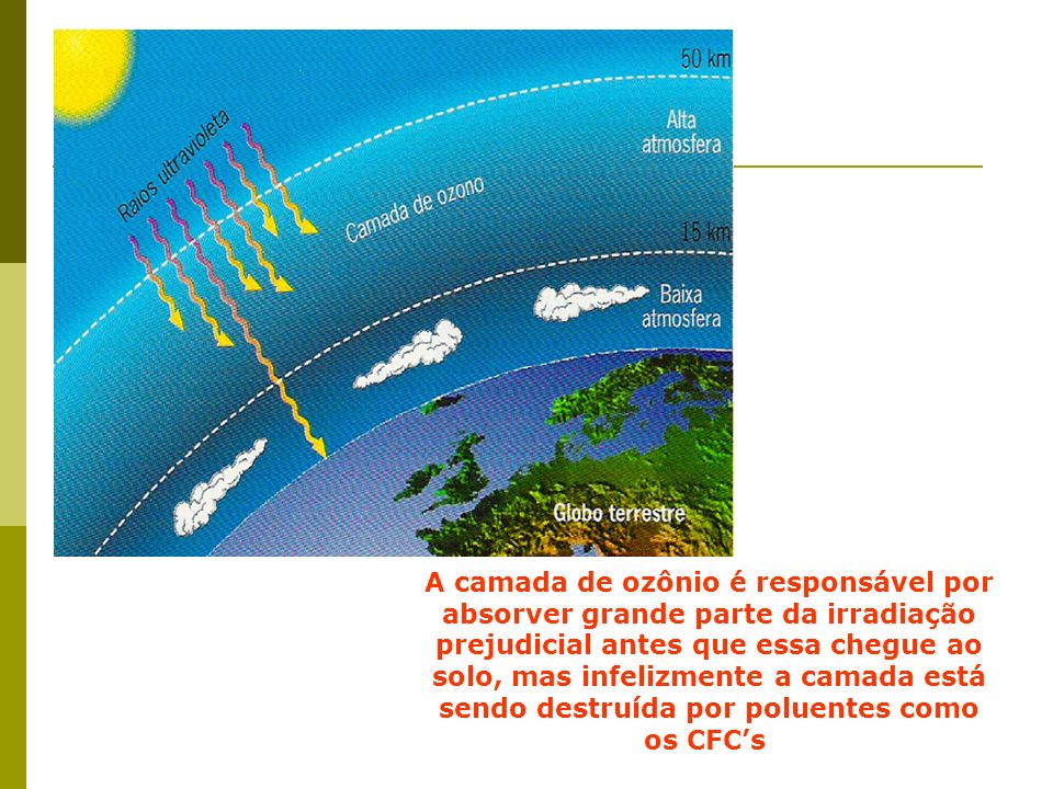 A camada de ozônio é responsável por absorver grande parte da irradiação prejudicial antes que essa chegue ao solo, mas infelizmente a camada está sendo destruída por poluentes como os CFC's