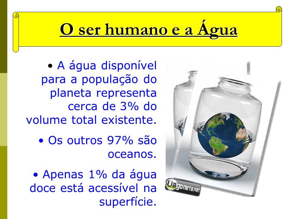 O ser humano e a Água A água disponível para a população do planeta representa cerca de 3% do volume total existente.