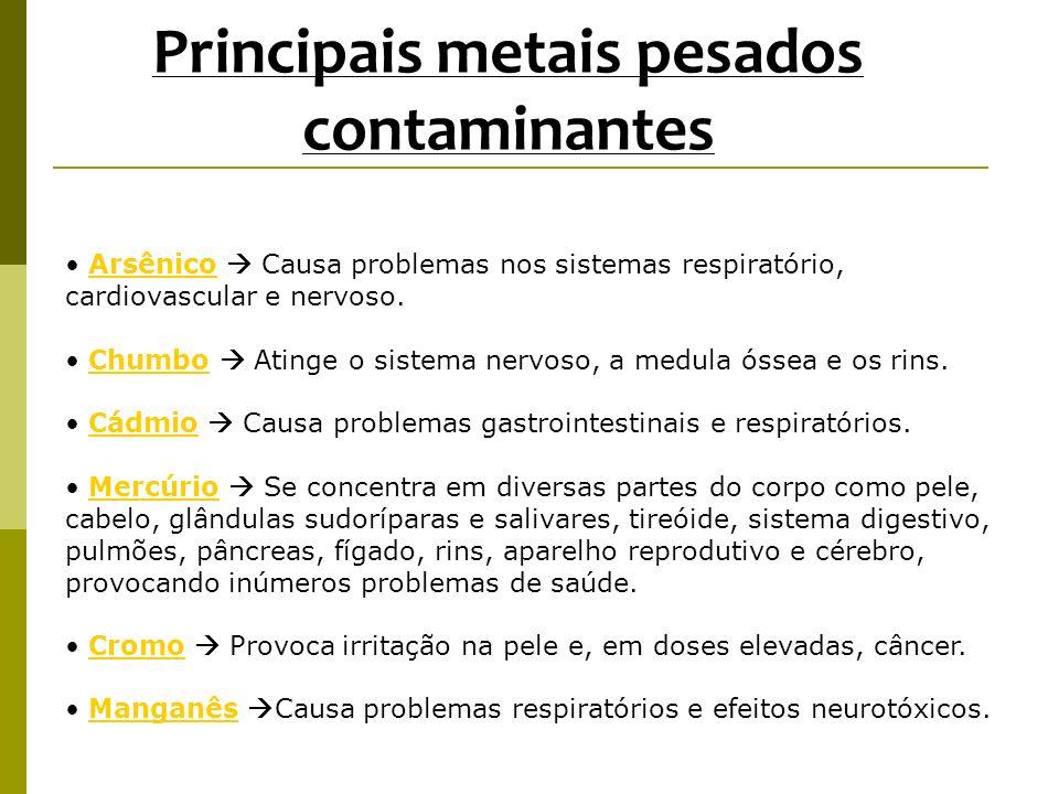 Principais metais pesados contaminantes