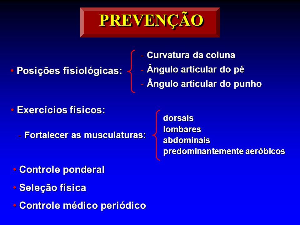 PREVENÇÃO Posições fisiológicas: Exercícios físicos: Controle ponderal