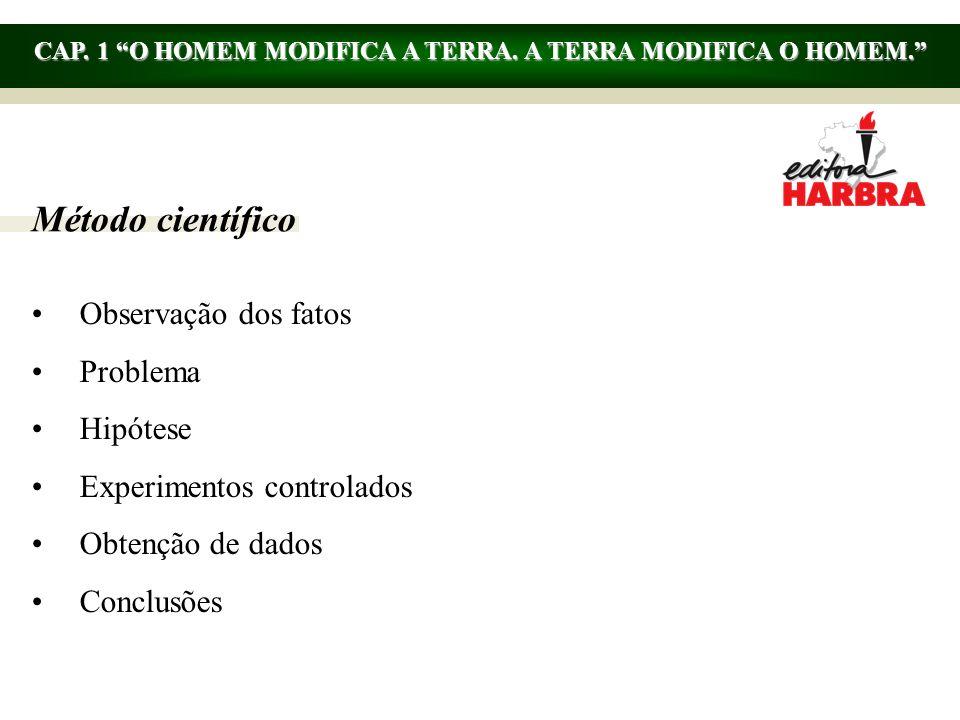 CAP. 1 O HOMEM MODIFICA A TERRA. A TERRA MODIFICA O HOMEM.