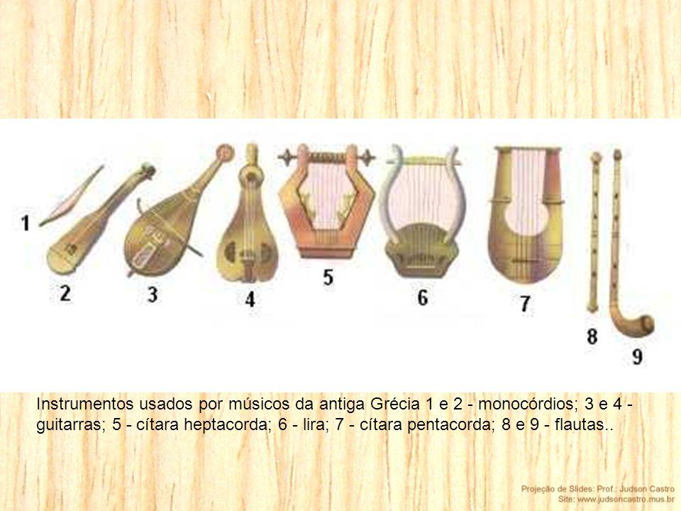 Instrumentos usados por músicos da antiga Grécia 1 e 2 - monocórdios; 3 e 4 - guitarras; 5 - cítara heptacorda; 6 - lira; 7 - cítara pentacorda; 8 e 9 - flautas..