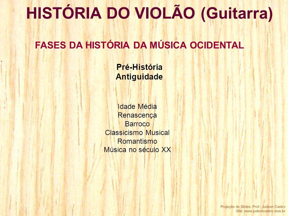 HISTÓRIA DO VIOLÃO (Guitarra) FASES DA HISTÓRIA DA MÚSICA OCIDENTAL