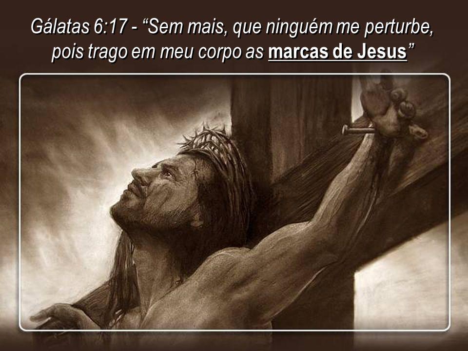 Gálatas 6:17 - Sem mais, que ninguém me perturbe, pois trago em meu corpo as marcas de Jesus