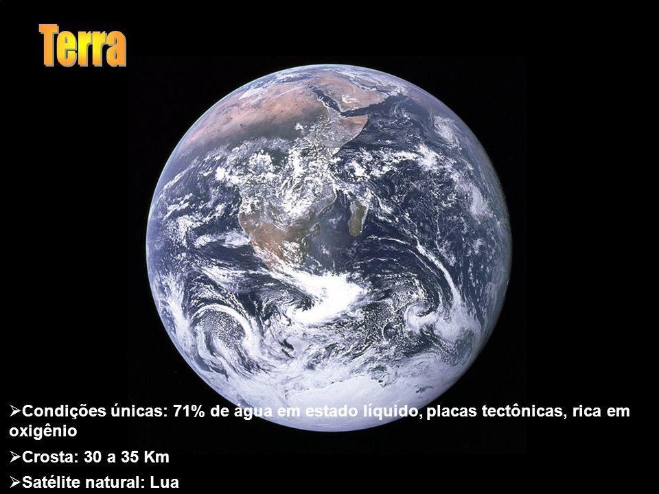 Terra Condições únicas: 71% de água em estado líquido, placas tectônicas, rica em oxigênio. Crosta: 30 a 35 Km.