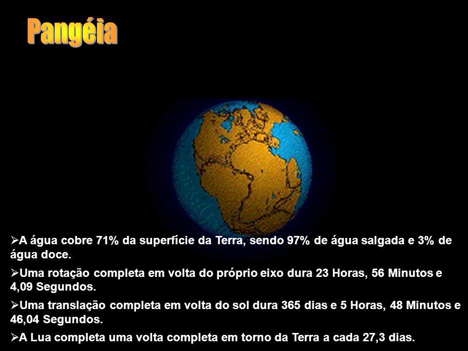 Pangéia A água cobre 71% da superfície da Terra, sendo 97% de água salgada e 3% de água doce.