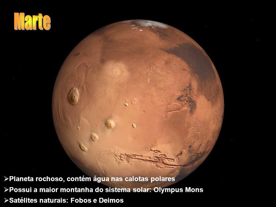 Marte Planeta rochoso, contém água nas calotas polares