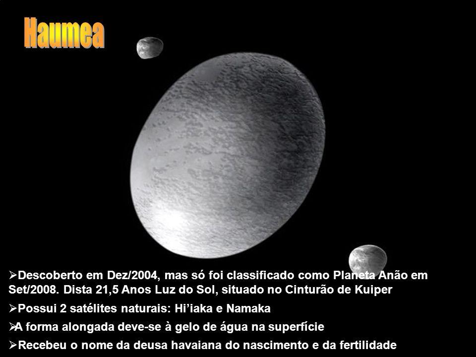 Haumea Descoberto em Dez/2004, mas só foi classificado como Planeta Anão em Set/2008. Dista 21,5 Anos Luz do Sol, situado no Cinturão de Kuiper.