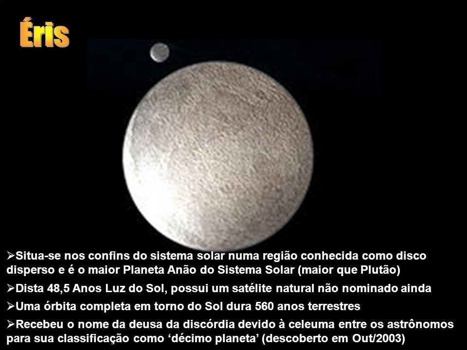 Éris Situa-se nos confins do sistema solar numa região conhecida como disco disperso e é o maior Planeta Anão do Sistema Solar (maior que Plutão)