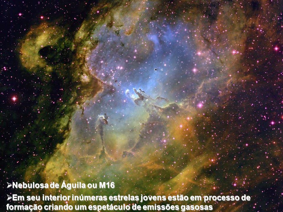 Nebulosa de Águila ou M16 Em seu interior inúmeras estrelas jovens estão em processo de formação criando um espetáculo de emissões gasosas.