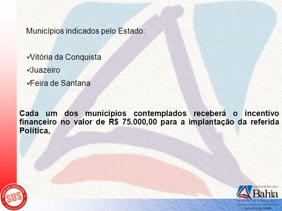 Municípios indicados pelo Estado: