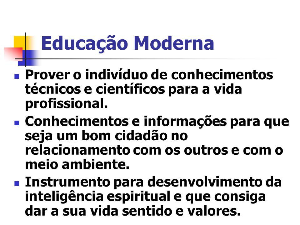 Educação Moderna Prover o indivíduo de conhecimentos técnicos e científicos para a vida profissional.