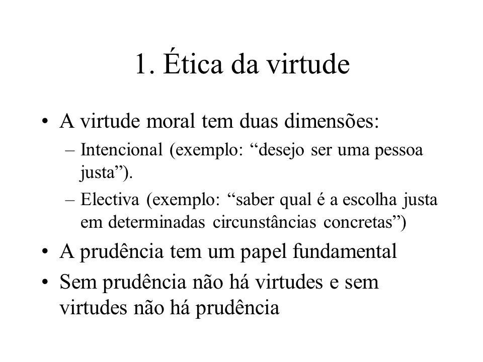 1. Ética da virtude A virtude moral tem duas dimensões: