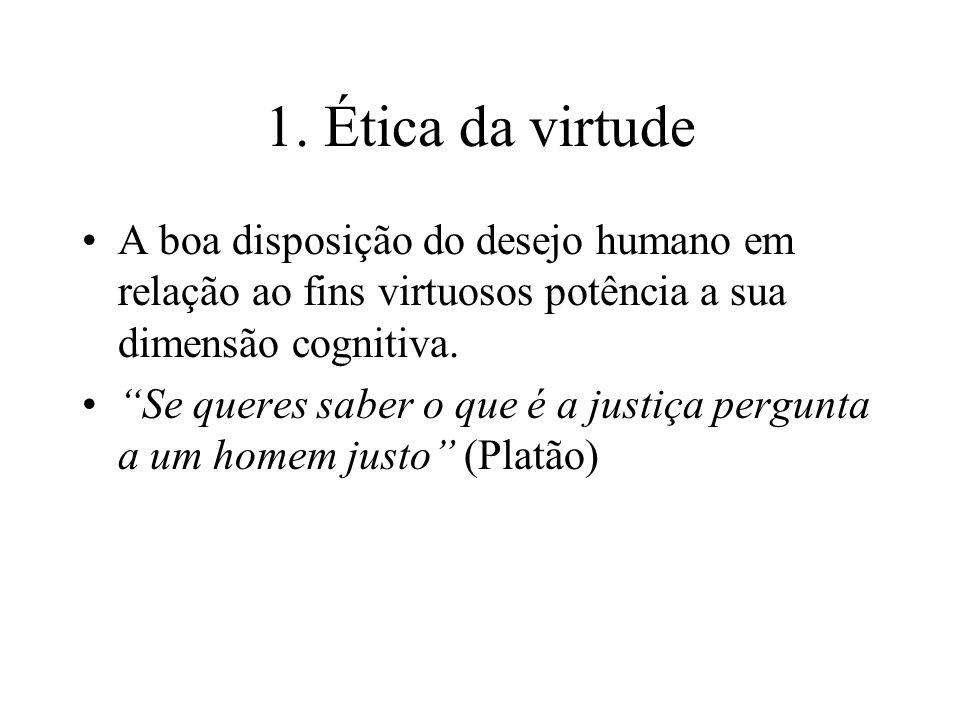 1. Ética da virtude A boa disposição do desejo humano em relação ao fins virtuosos potência a sua dimensão cognitiva.