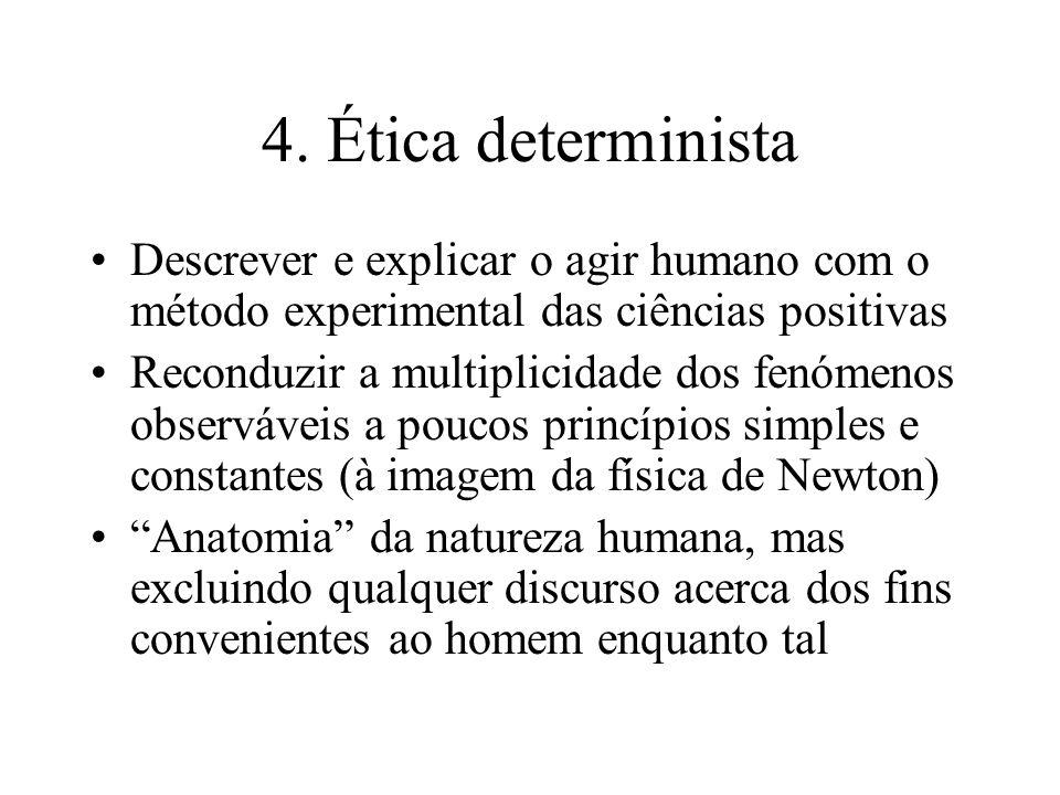 4. Ética determinista Descrever e explicar o agir humano com o método experimental das ciências positivas.