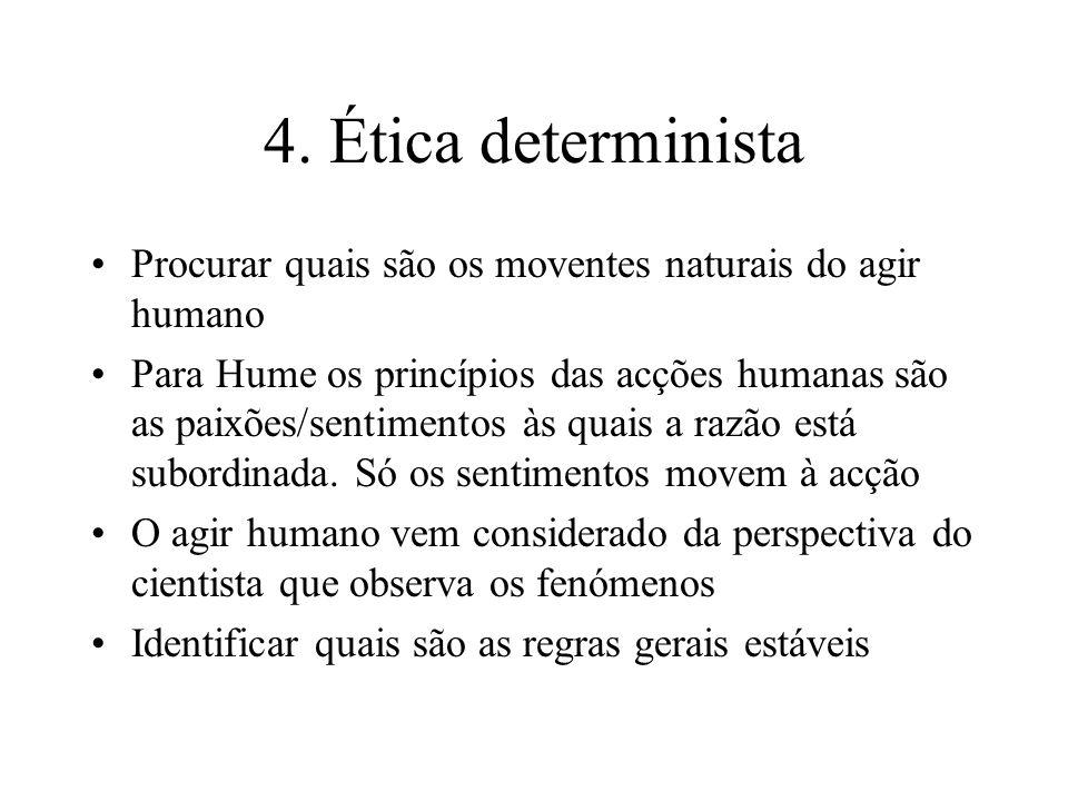 4. Ética determinista Procurar quais são os moventes naturais do agir humano.