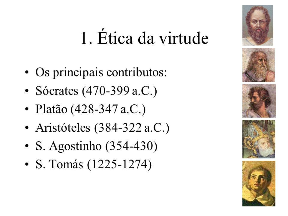 1. Ética da virtude Os principais contributos: Sócrates (470-399 a.C.)