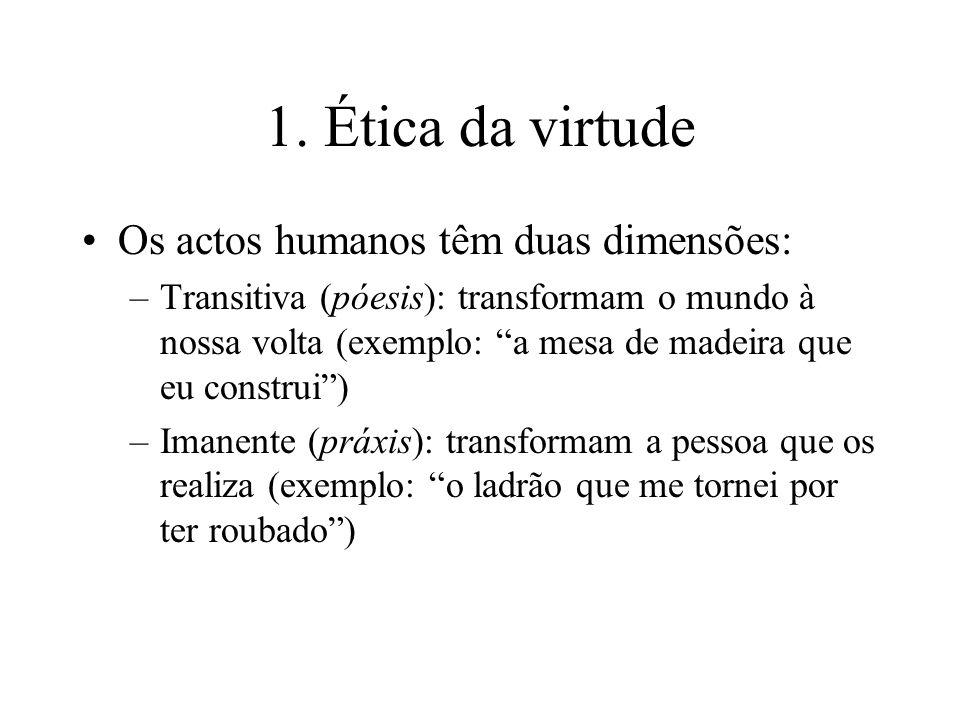 1. Ética da virtude Os actos humanos têm duas dimensões:
