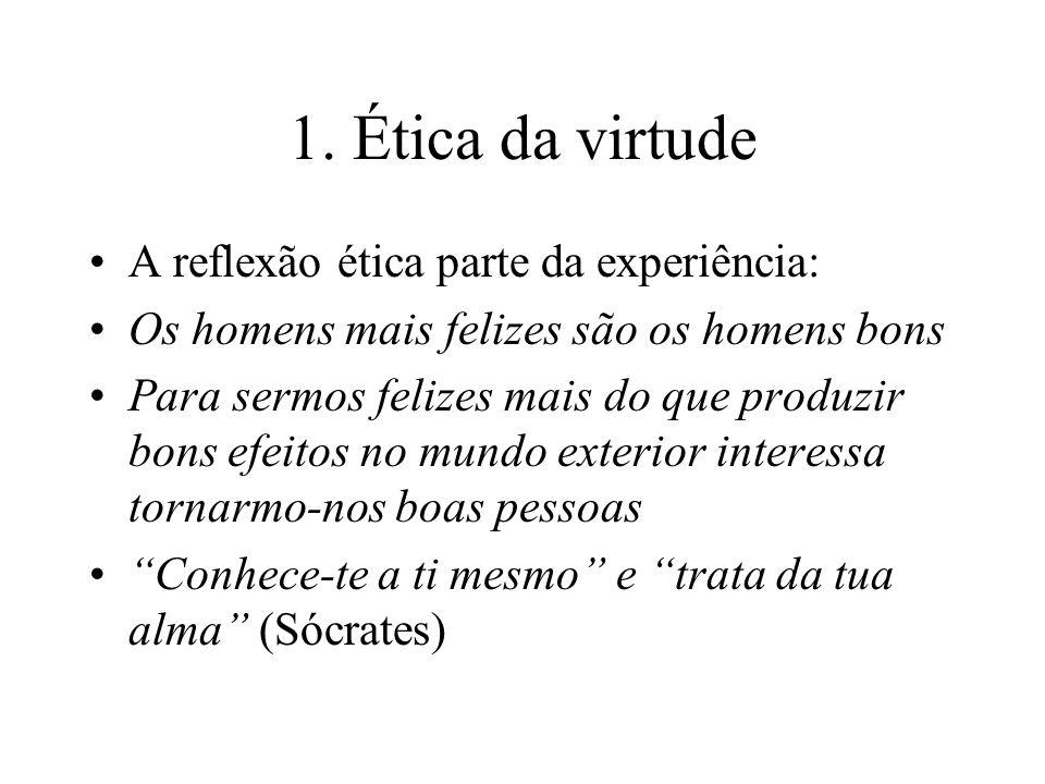 1. Ética da virtude A reflexão ética parte da experiência: